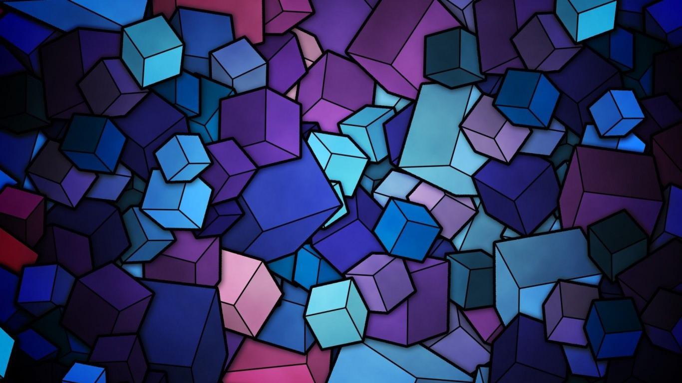 Geometric Blue & Purple Cubes Wallpaper