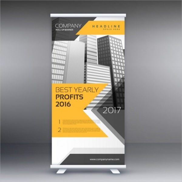 geometric yellow roll up banner for corporate