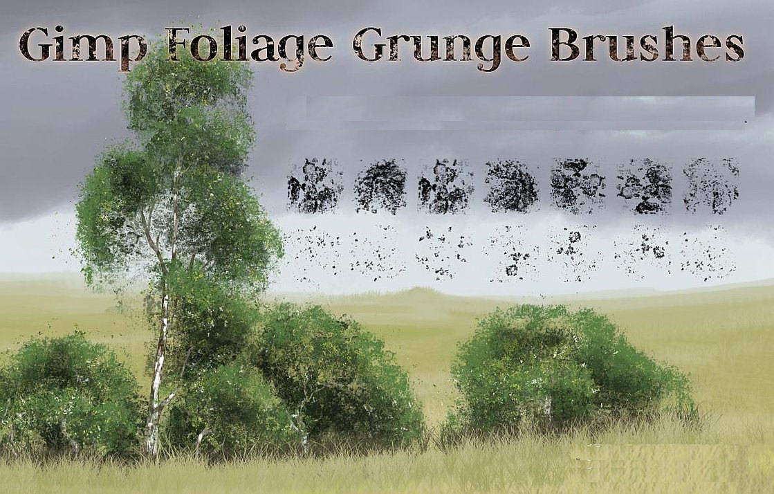 gimp foliage grunge brushes