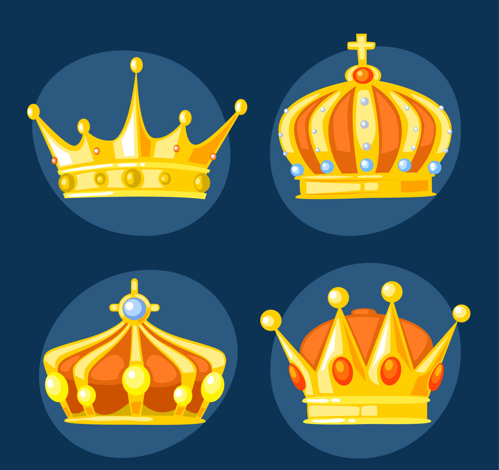 Golden King Crowns Vector