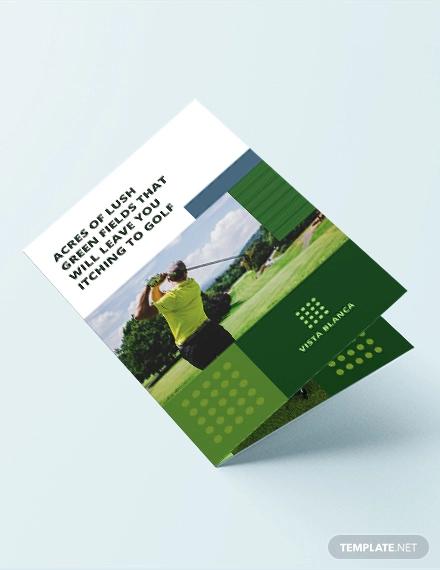 golf course bi fold brochure template