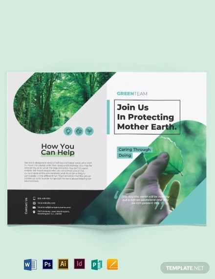 green bi fold brochure template