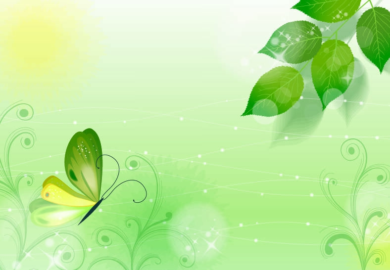 Green Nature Butterfly Background
