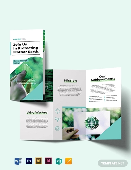 green tri fold brochure template