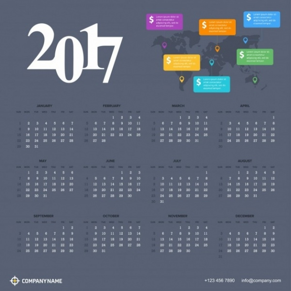 Corporate Calendar 2017 : Business calendar designs psd vector eps jpg