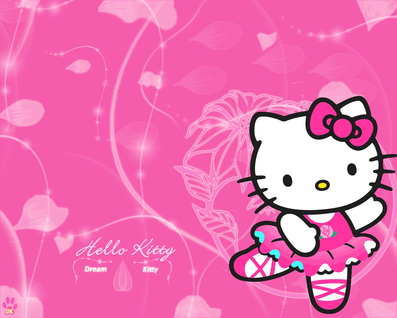 HIgh Res Pink Anime Kitty Wallpaper Background