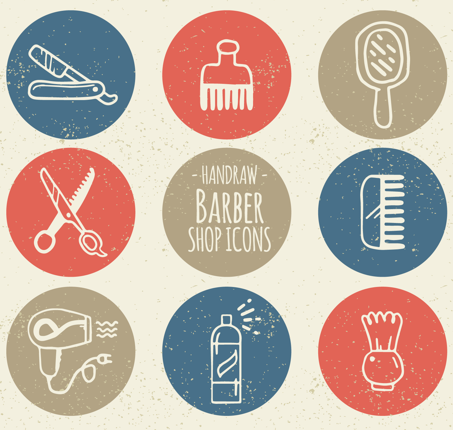 Hand Drawn Rounded Barber Shop Icons