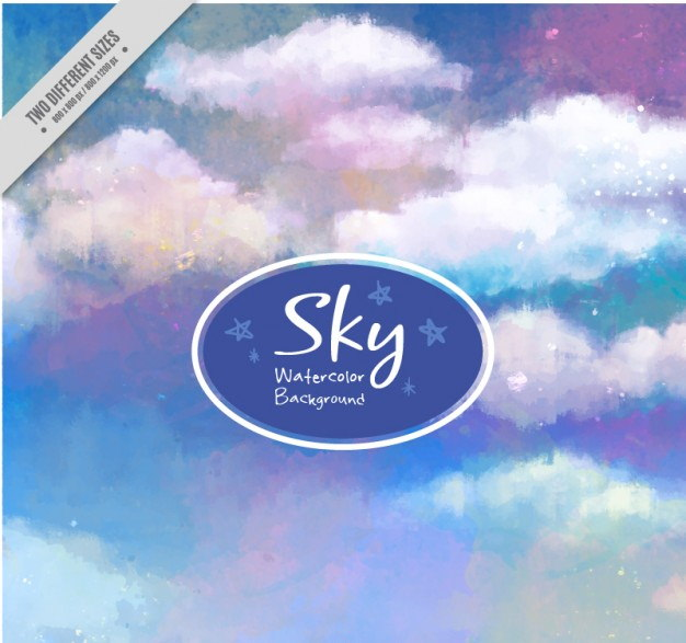 Hand Painted Blue and Purple Sky Background