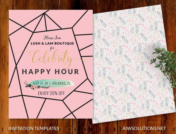 happy hour postcard invitation