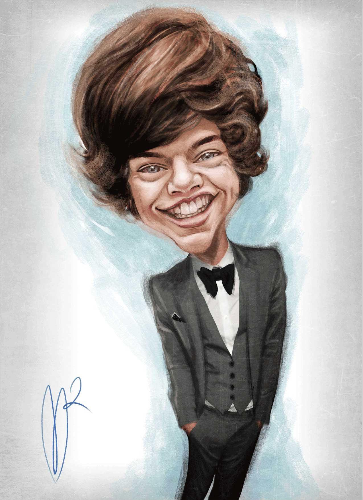 Harry Styles Digital Caricature Painting