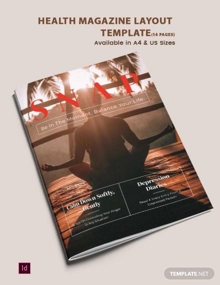 health magazine layout template