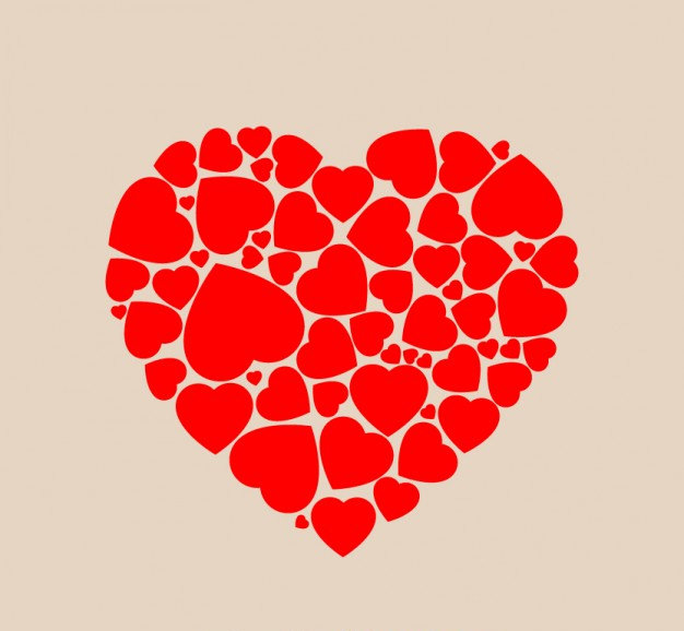 Heart Shape Made of Hearts Background