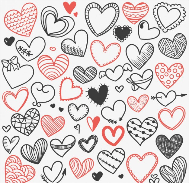 Heart Sketches Background Free Vector