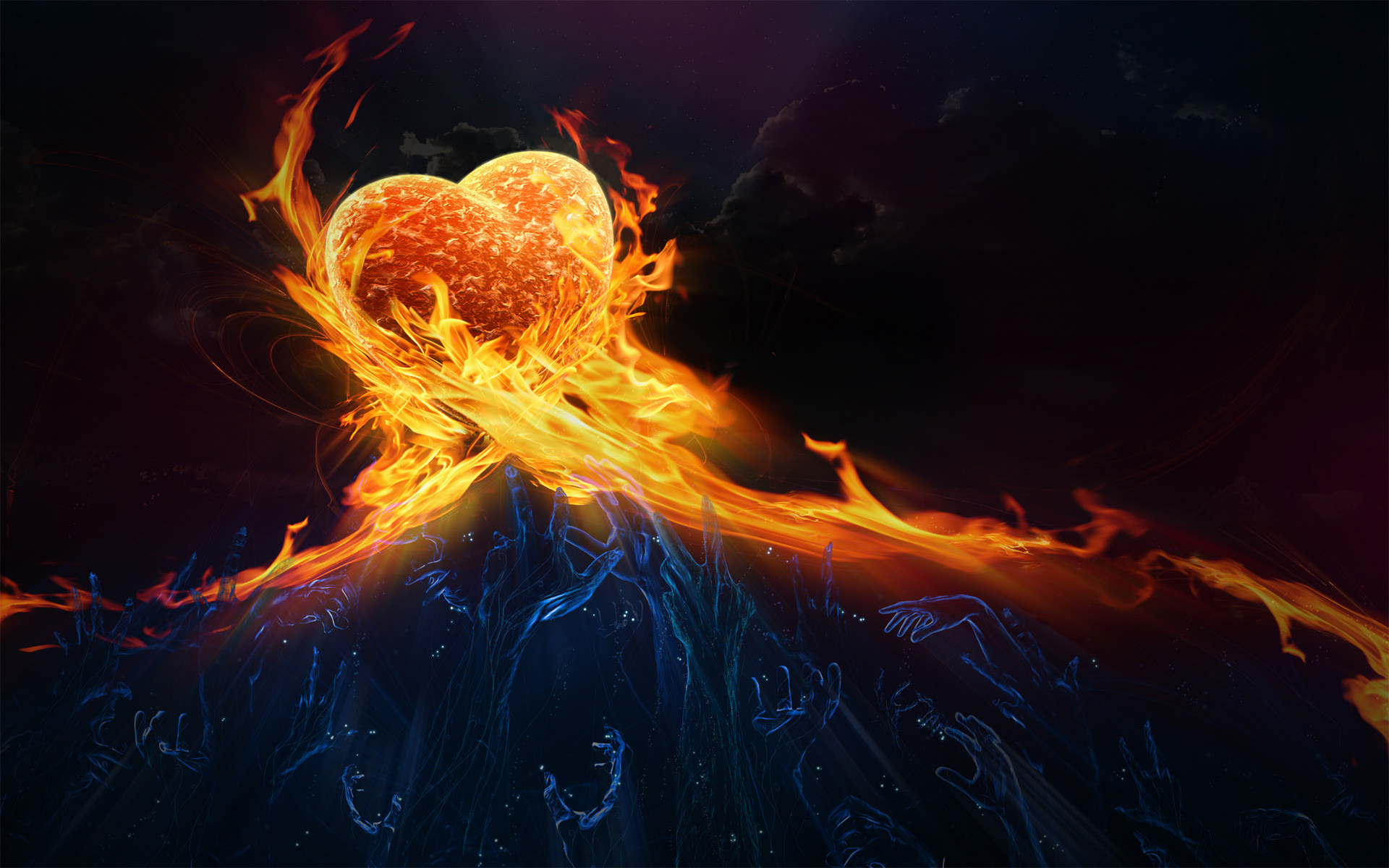 Heart on Fire Background For You