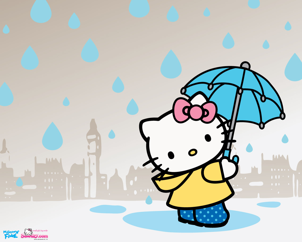 Hello Kitty Holding Umbrella Wallpaper for Desktop