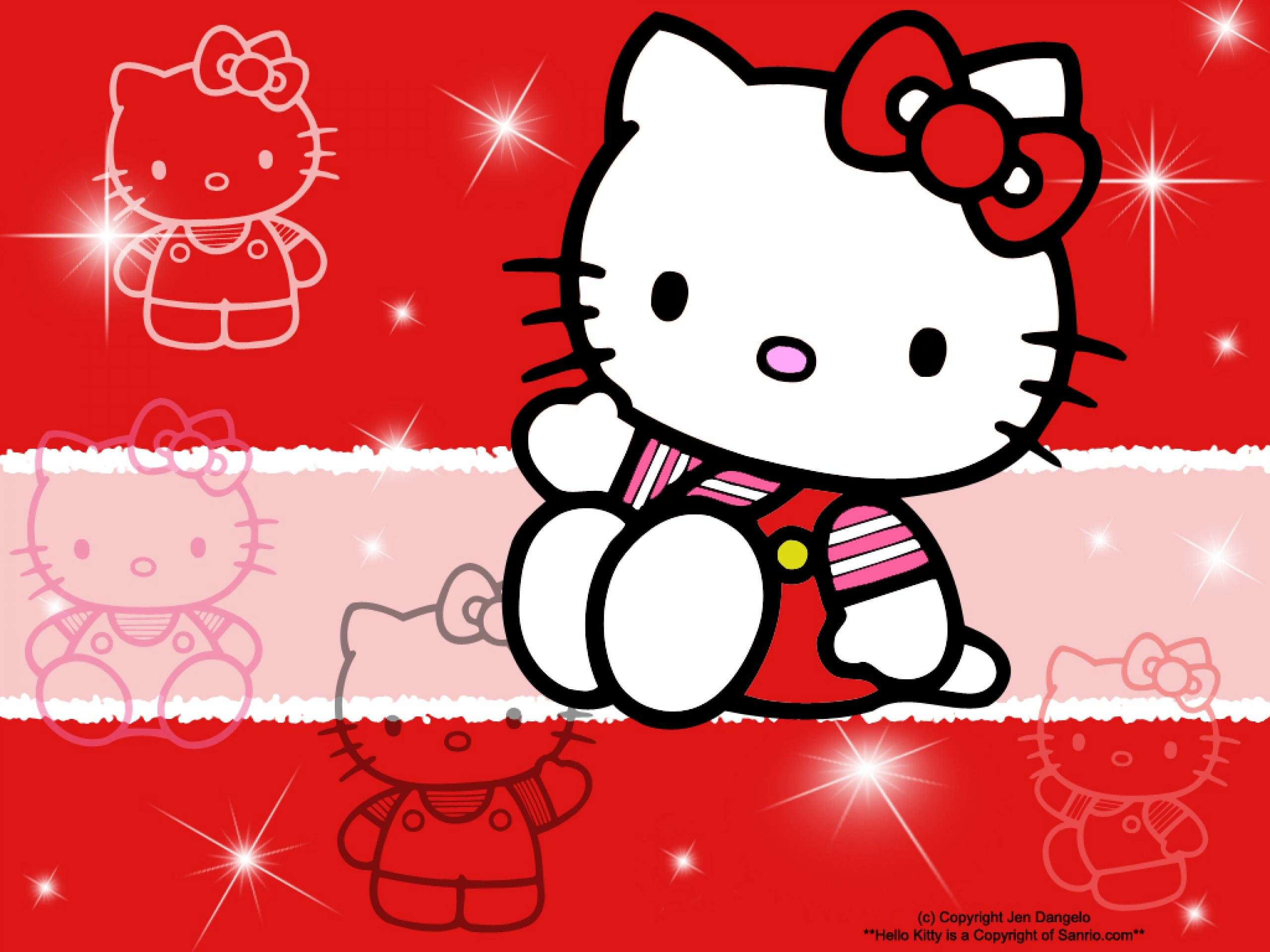 Hello Red Kitty Background Wallpaper