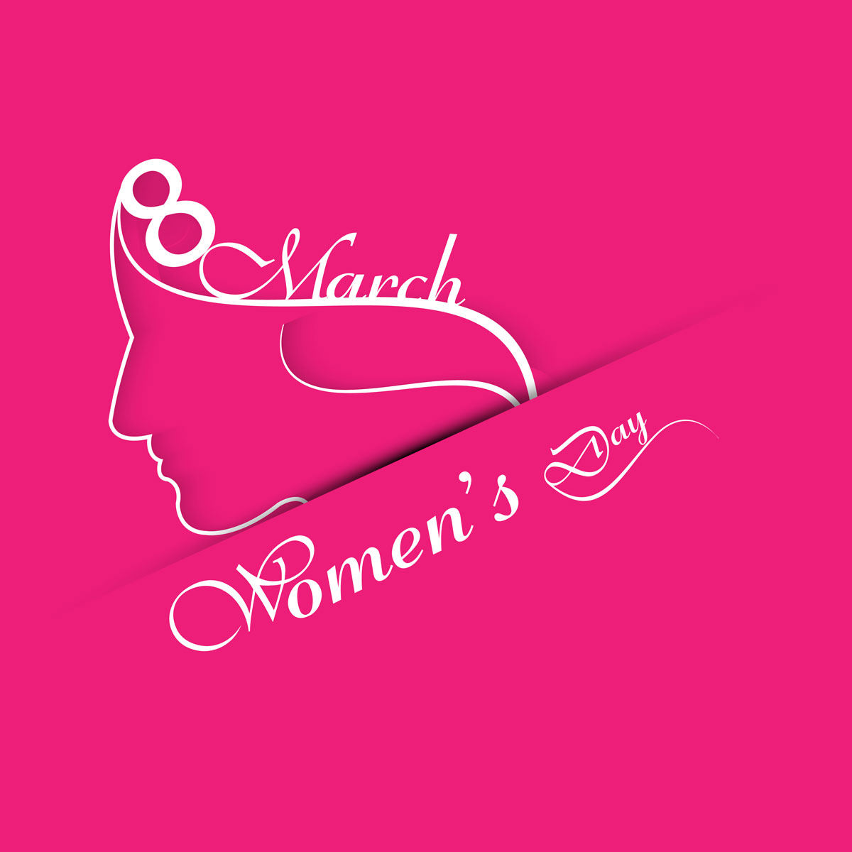 High Quality Womens Day Card with Pink Background
