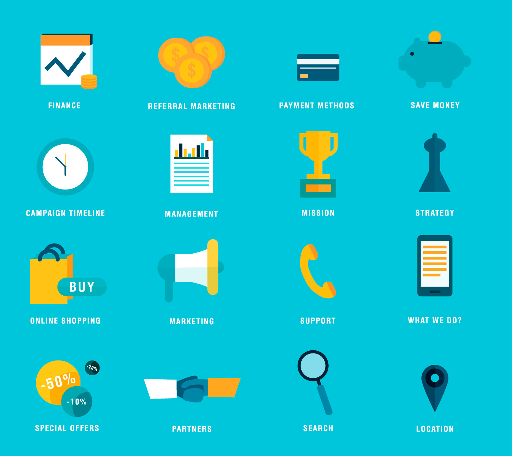 High Res Flat Vector E-commerce Icons Set