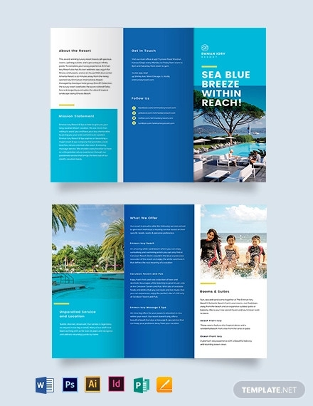 holiday resort tri fold brochure template