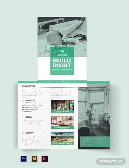 home construction company bi fold brochure template