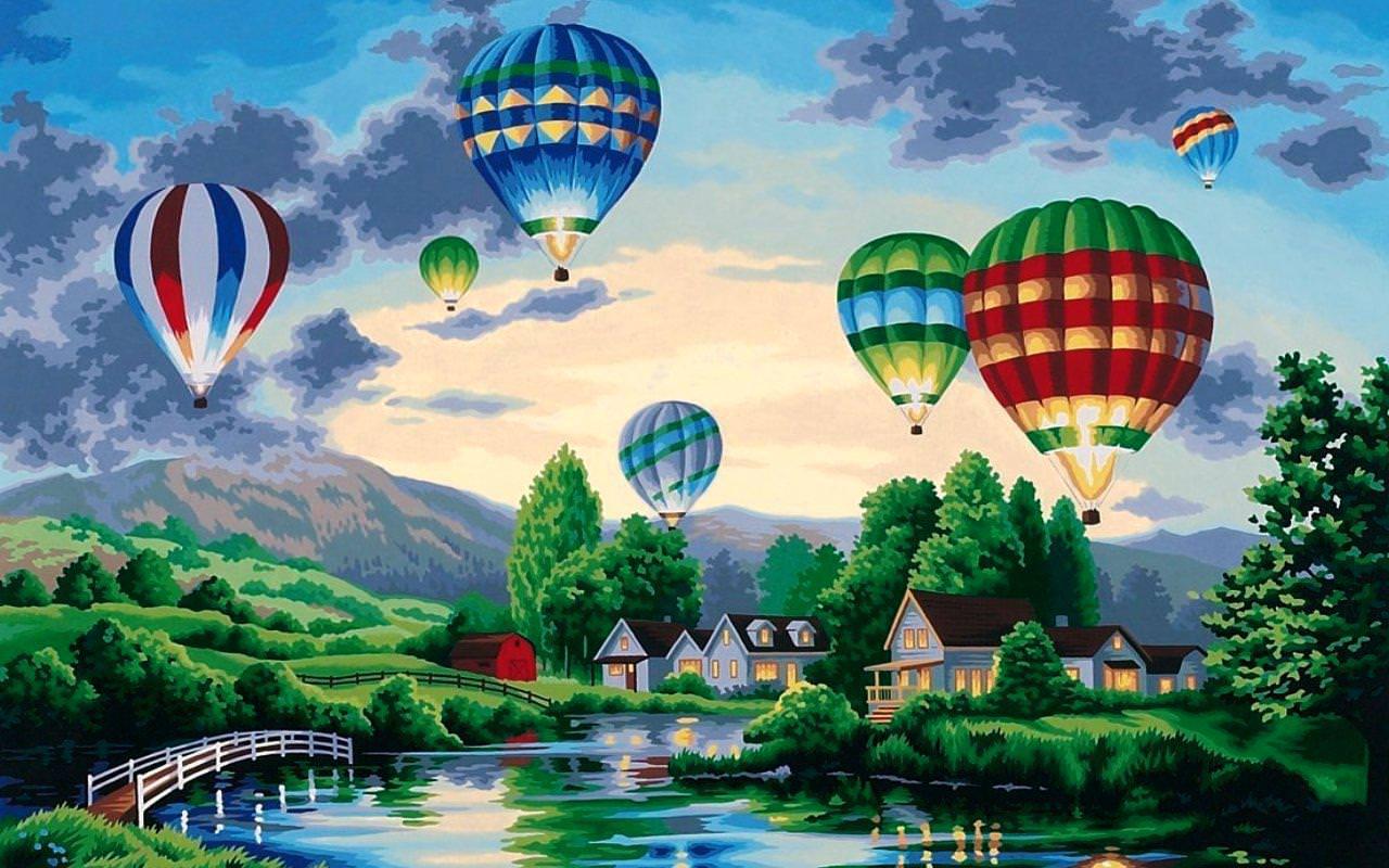 Hot Air Balloons Painting Art Wallpapers HD