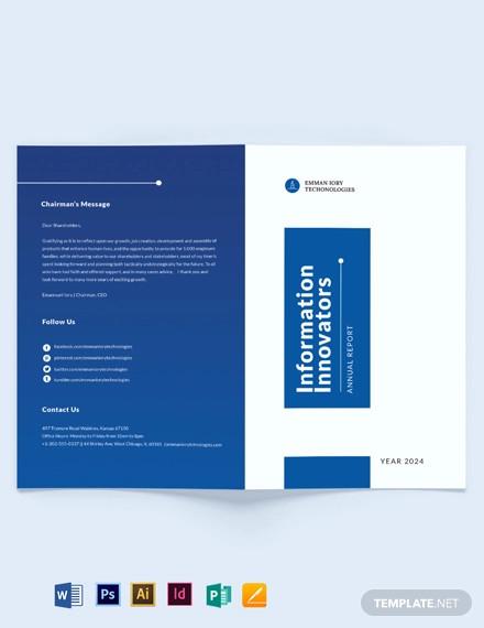it annual report bi fold brochure template