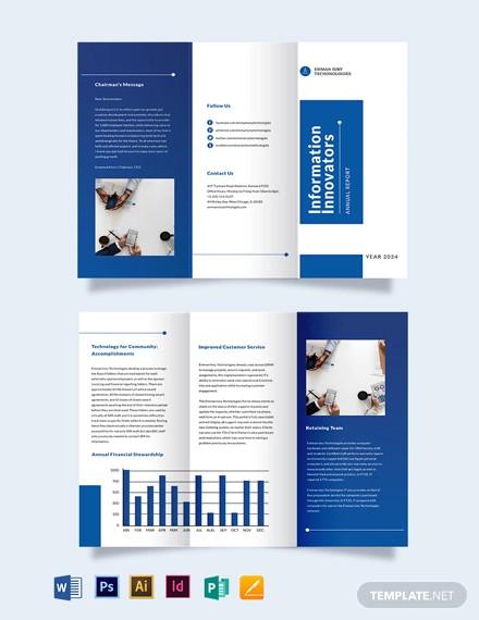 it annual report tri fold brochure template
