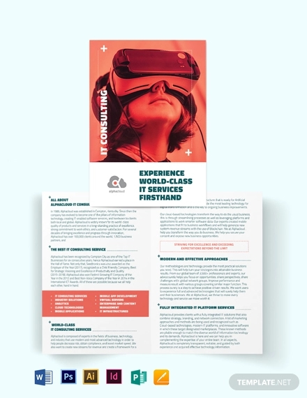 information technology consultants bi fold brochure template
