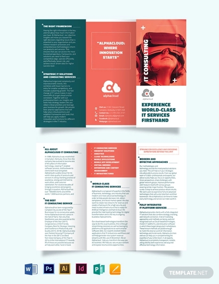information technology consultants tri fold brochure template