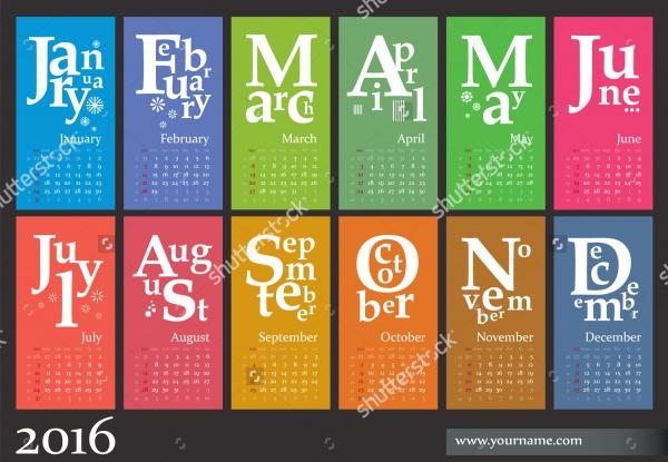 Jazzy Multicolor Business Calendar Design
