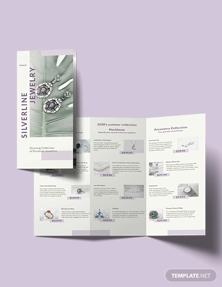 jewelry boutique tri fold brochure template
