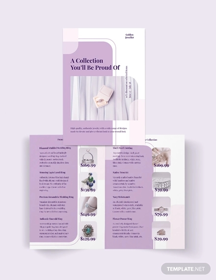 jewelry store bi fold brochure template