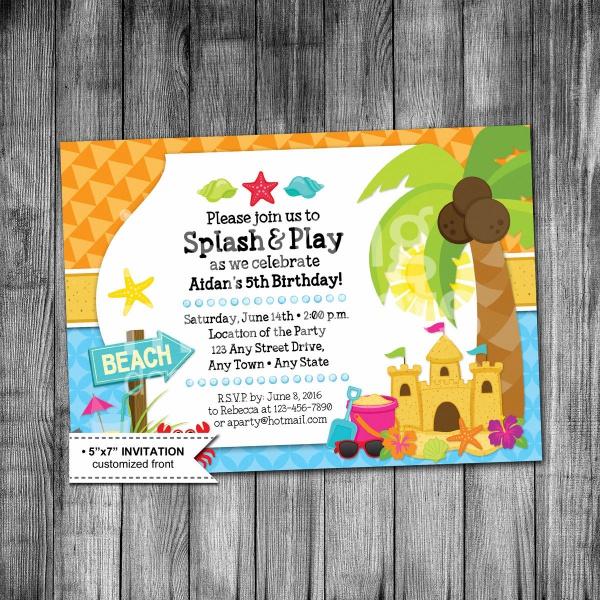 Kids Beach Birthday Party Invitation