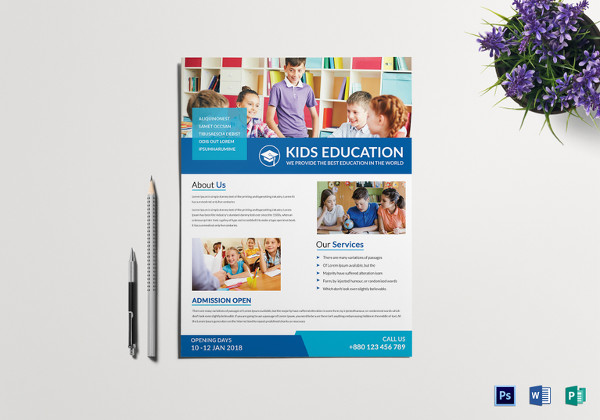 kids education tutoring flyer template