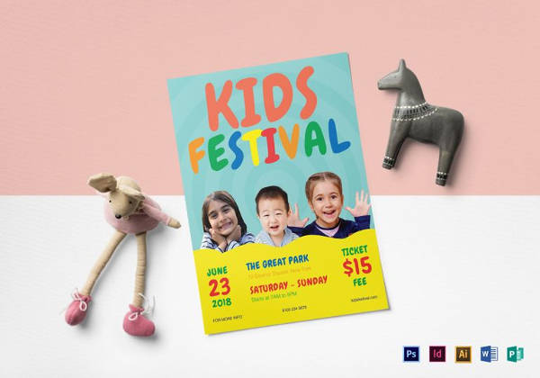kids festival flyer template to print