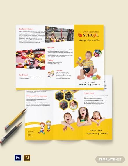 kindergarten a3 tri fold brochure template