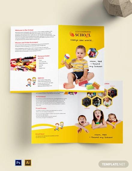 kindergarten a4 bi fold brochure template
