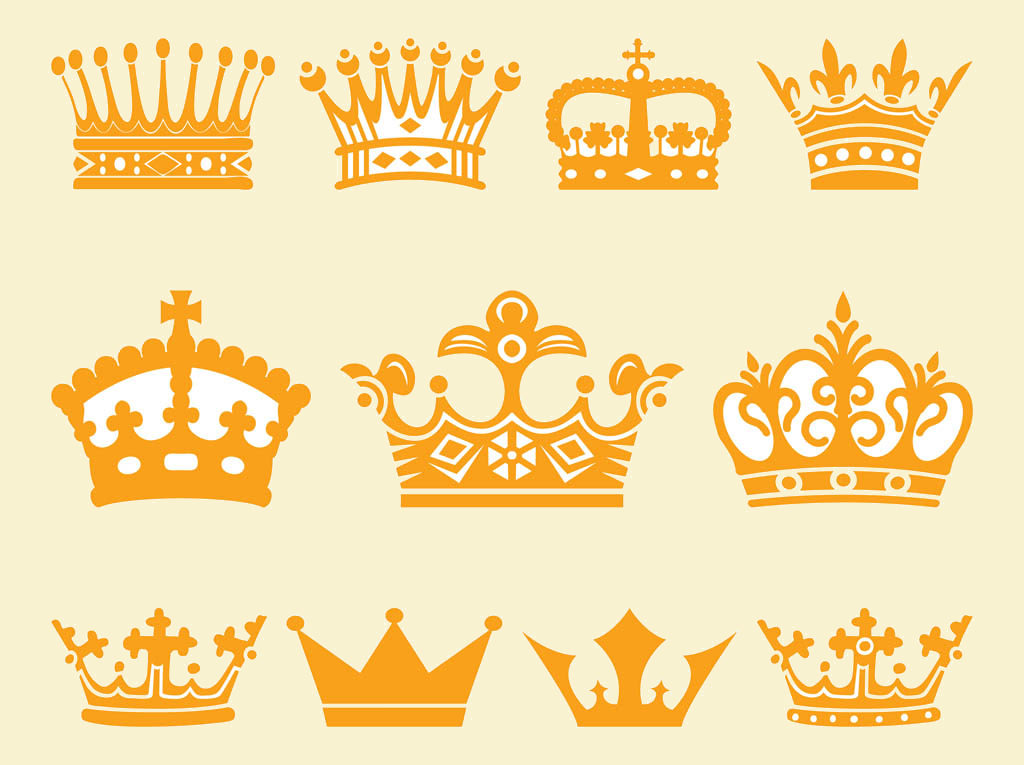Kings and Queens Vector Crowns Set