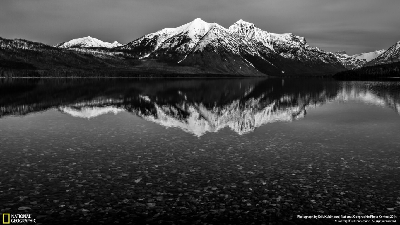 Lake McDonald Black & White Wallpaper