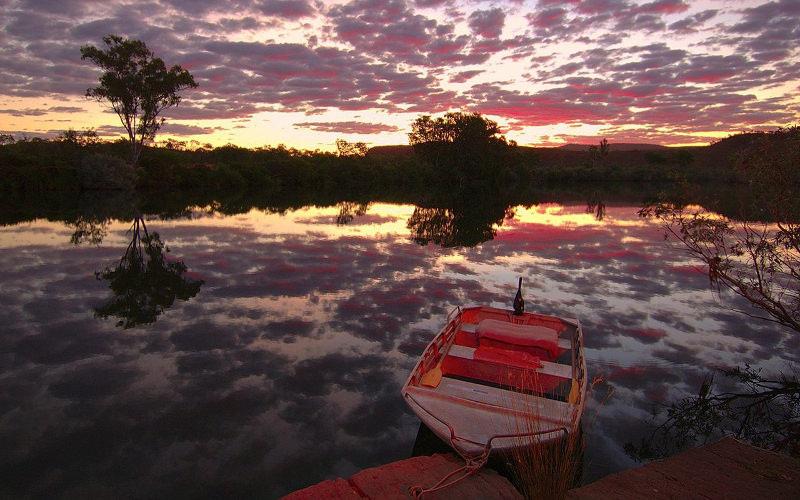 Landscape Boat River Wallpaper