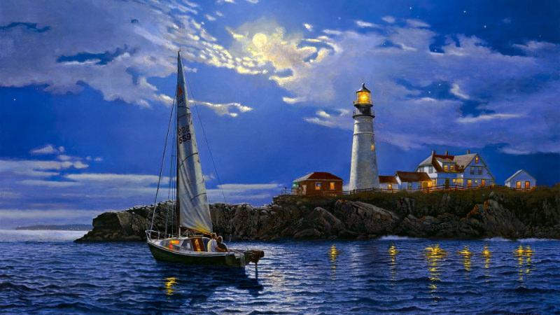 Light House Boat Wallpaper