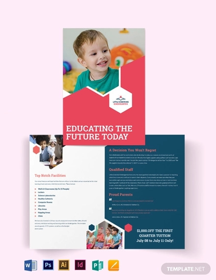 little einsteins kindergarten bi fold brochure template