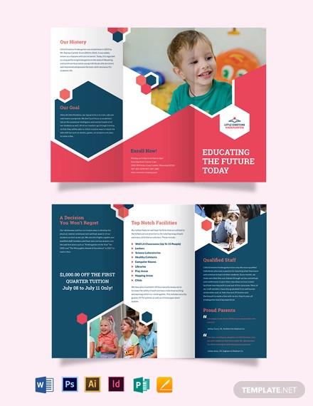 little einsteins kindergarten tri fold brochure template