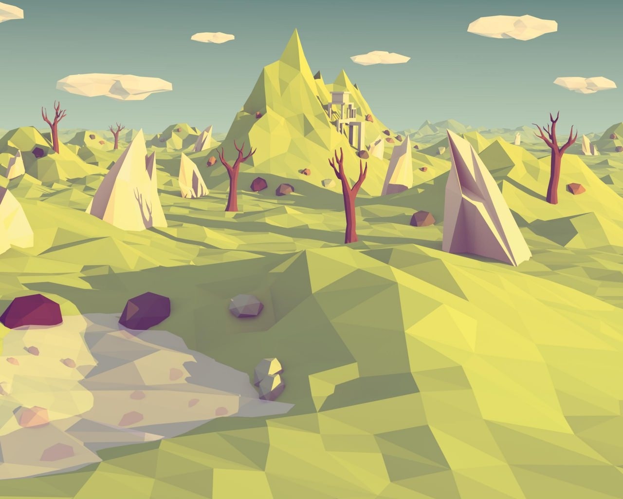 Low Poly Landscape Background