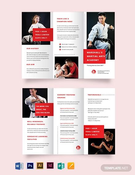 martial arts school tri fold brochure template