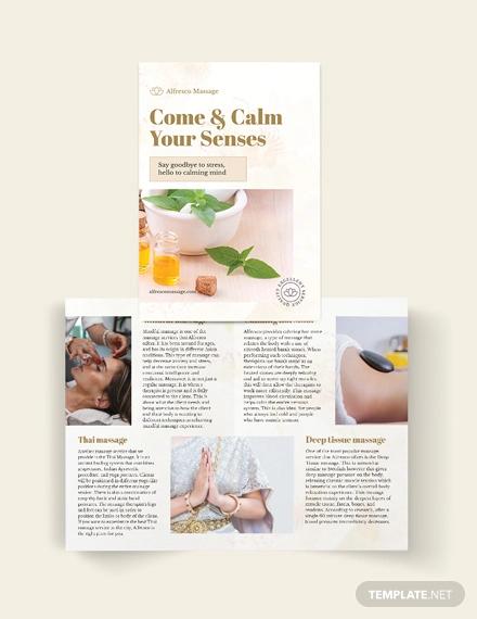 massage salon bi fold brochure template