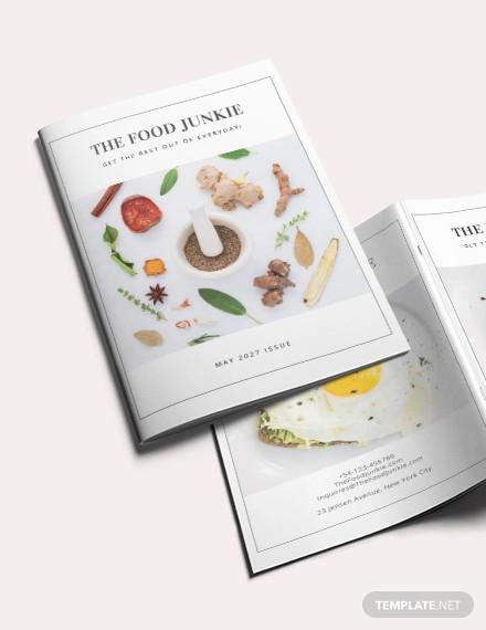 minimal food magazine template