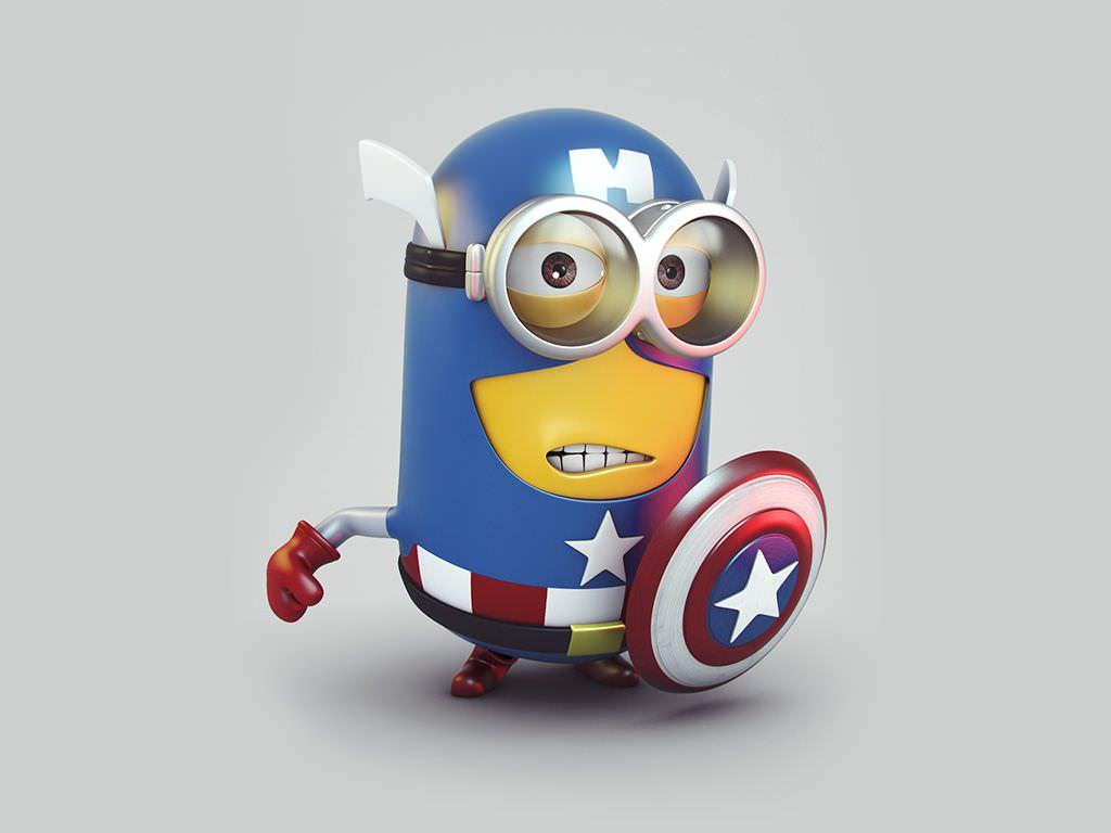 minion in captain america costume wallpaper