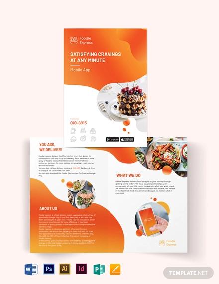mobile app bi fold brochure template