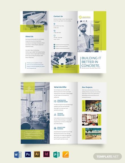 modern construction tri fold brochure template